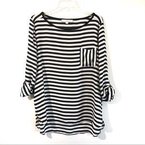 Loft sheer black white stripe rolled sleeve blouse